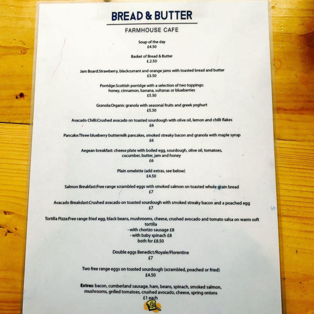 Bread & Butter cafe メニュー1