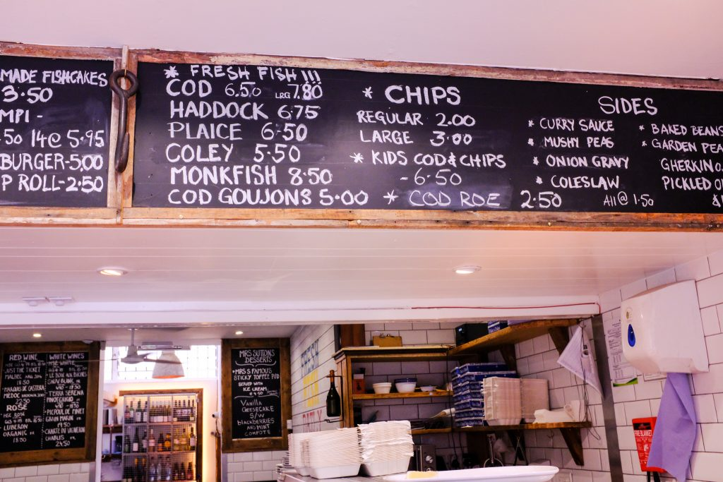 Sutton and Sons Fish and Chips, people, menu